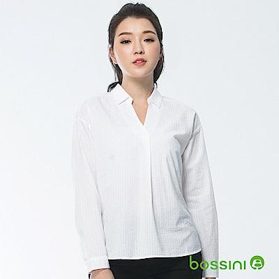 bossini女裝-素色長袖襯衫03白