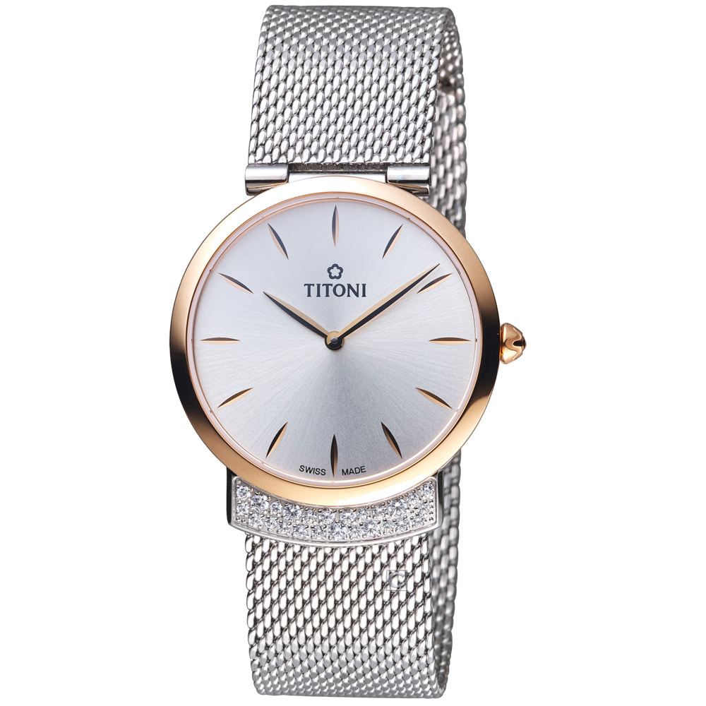 TITONI MADEMOISELLE優雅伊人系列米蘭錶帶腕錶-銀白色/32mm