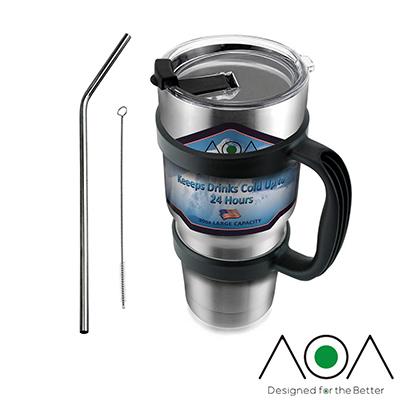 AOA 304不鏽鋼雙層保溫保冰杯(含杯架超值組合)