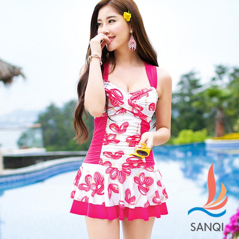 SANQI三奇 花漾俏皮 一件式連身泳衣(玫紅M~XL)