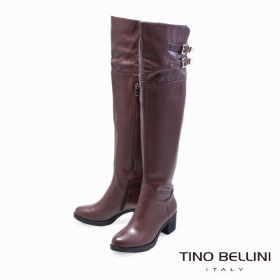 Tino Bellini 名模Runway氣勢中跟過膝靴_咖