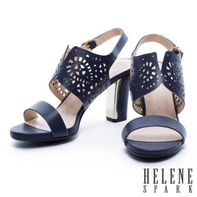 涼鞋 HELENE SPARK 鏤空雕花牛皮一字粗跟涼鞋-藍