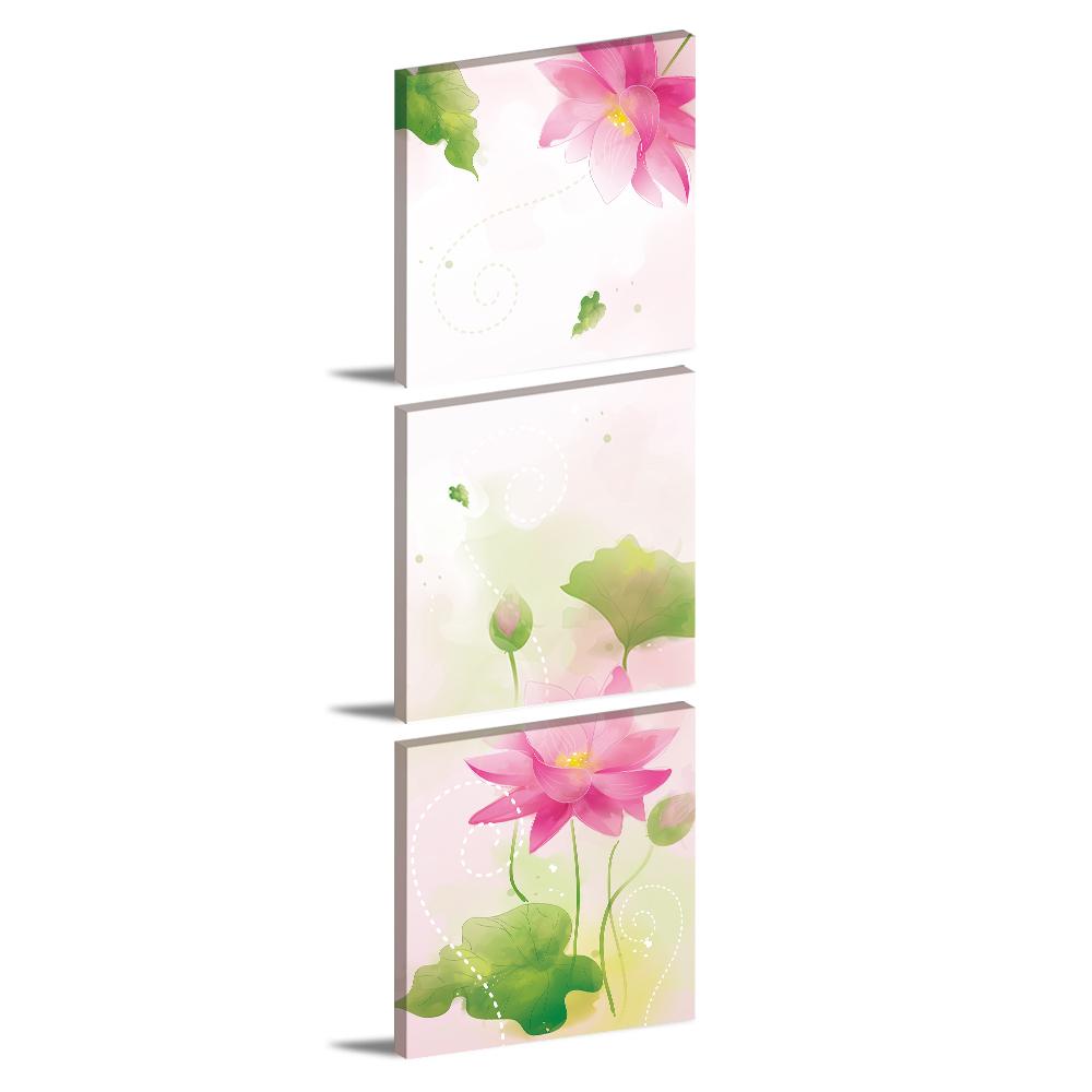 123點點貼- 三聯式壁貼重覆黏貼窗貼無痕不殘膠-蓮花語30*30cm