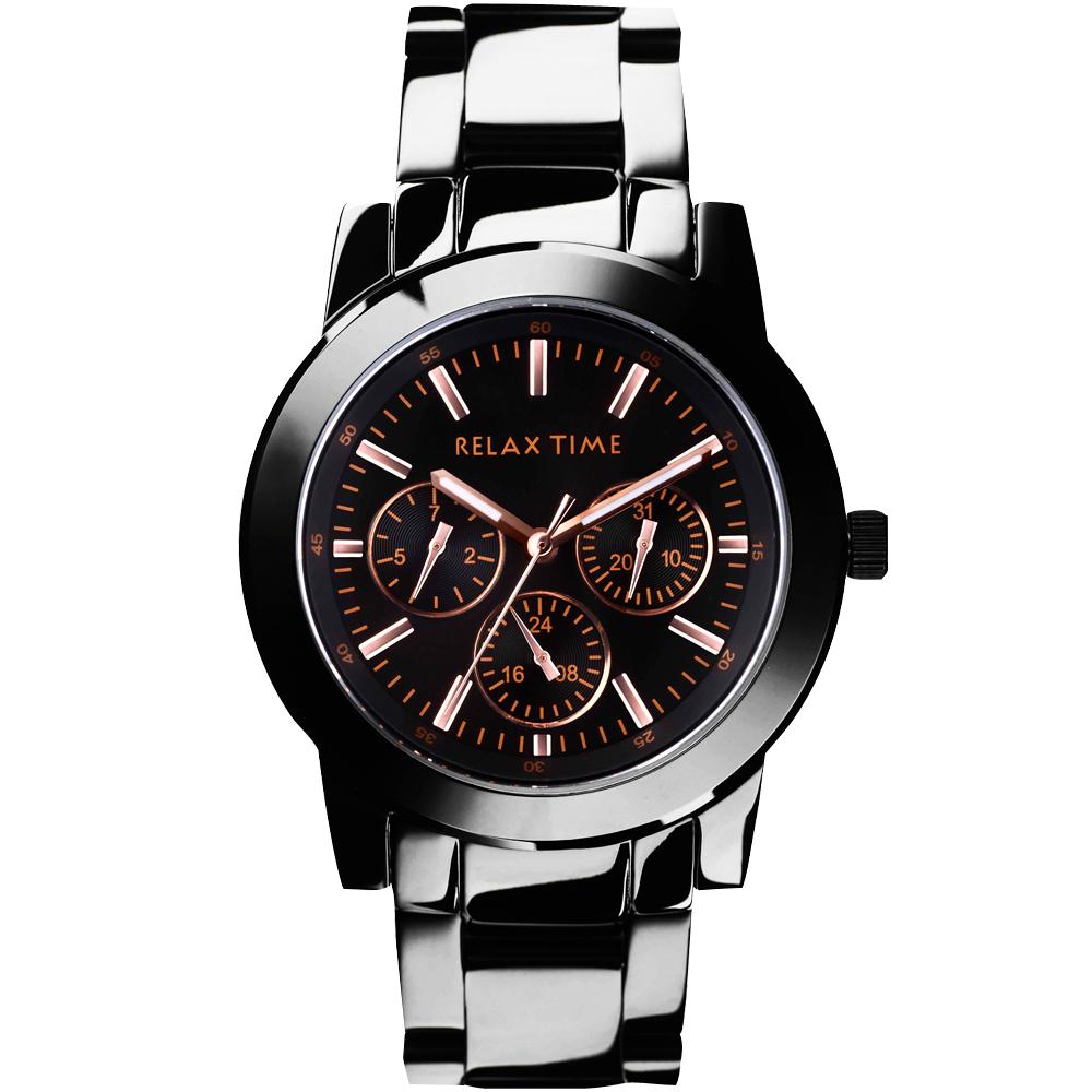 Relax Time 時尚達人日曆顯示腕錶-/IP黑x玫塊金時標/42mm