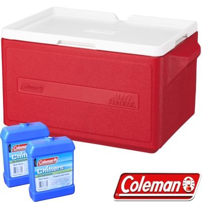 Coleman 1329紅 31L可疊放置物型冰桶+冷媒2入 行動冰箱/保冰袋/保冷袋