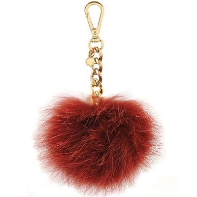 MICHAEL KORS Fur Pom Charm毛球鑰匙圈吊飾(酒紅色)