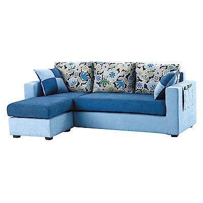 Bernice-羅恩卡L型布沙發(三人座+腳椅)(送抱枕)