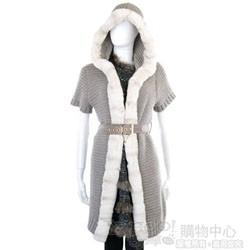 YES LONDON 灰色皮草飾邊針織連帽外套(附腰帶)