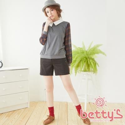 betty-s貝蒂思-LOGO吊飾格紋混羊毛短褲