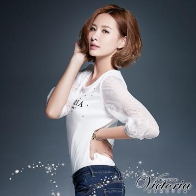Victoria 透視條紋拼接七分袖T-女-白色