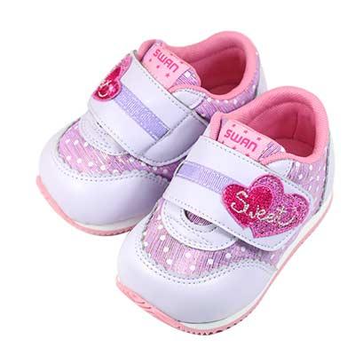 Swan天鵝童鞋-閃亮甜蜜愛心機能學步鞋 1552-紫