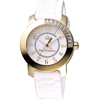 Juicy Couture BFF晶鑽色彩美人腕錶-白/金/38mm