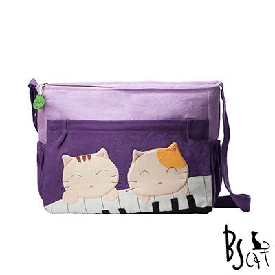 ABS貝斯貓 可愛貓咪拼布 肩背包 斜揹包 (紫) 88-213