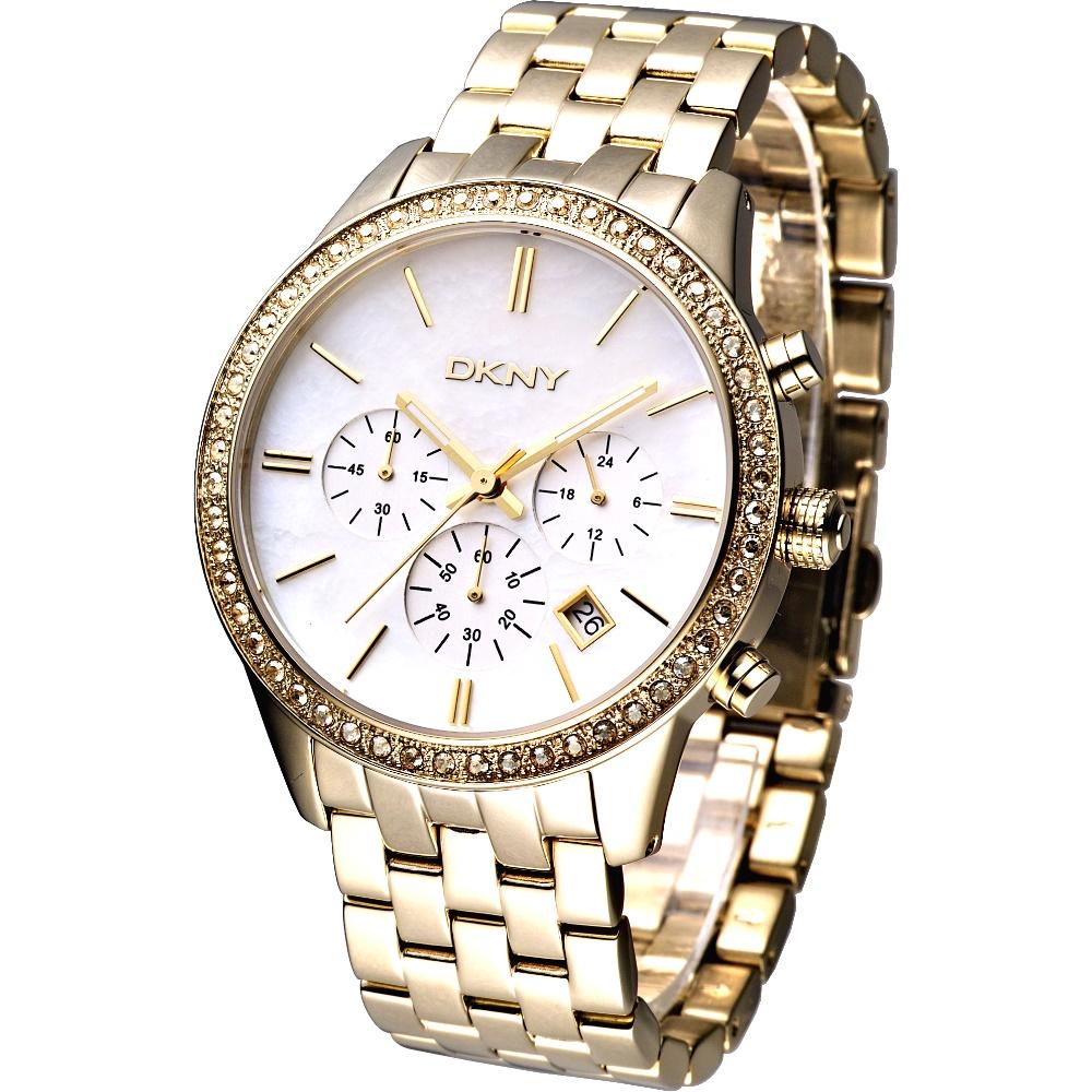 DKNY 仕女大錶徑三眼計時晶鑽腕錶-白金/42mm