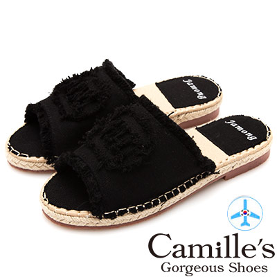 Camille's 韓國空運-抽鬚毛邊丹寧布麻編拖鞋-黑色
