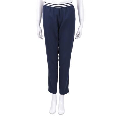 ERMANNO SCERVINO 條紋鬆緊細節深藍色修身剪裁九分褲