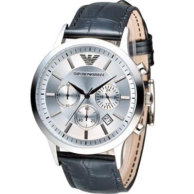 EMPORIO ARMANI Classic 簡約內斂計時腕錶-銀色x黑色/43mm
