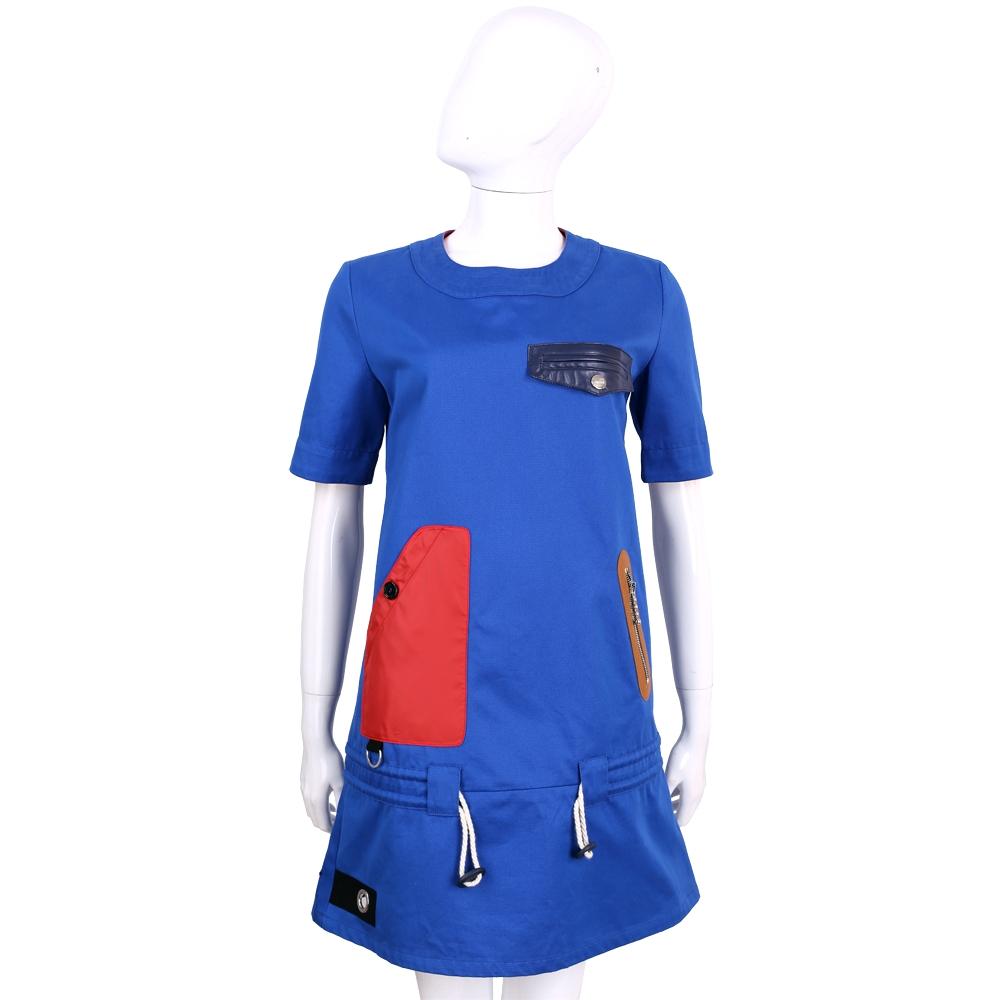 LOVE MOSCHINO 藍色拼接拉繩設計棉質短袖洋裝