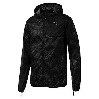 PUMA-男性慢跑系列印花連帽外套-黑色-亞規