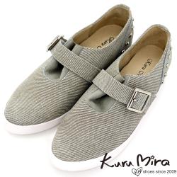 Kuru Mira鉚釘斜紋內增高鞋