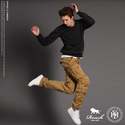 ROUSH 下襬口袋設計高磅數水洗工作長褲 (6色)