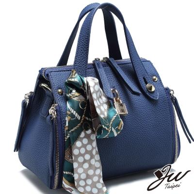JW-香吻美人絲巾鎖頭荔枝紋裝飾手肩側包-共三色
