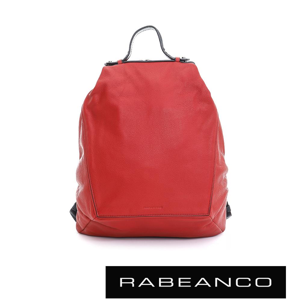 RABEANCO時尚系列牛皮菱形後背包石榴紅