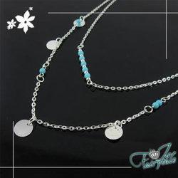 iSFairytale伊飾童話 翠綠串珠 雙層圓幣墬鍊 銀