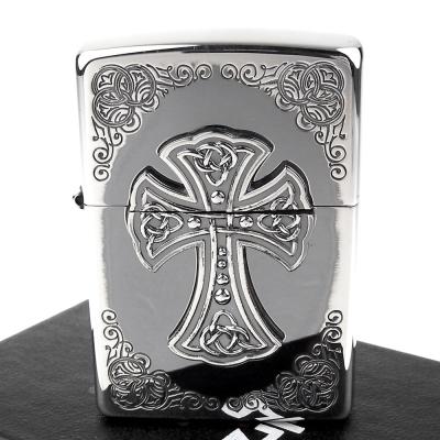 【ZIPPO】日系~CROSS METAL-十字架金屬貼飾打火機 - 銀