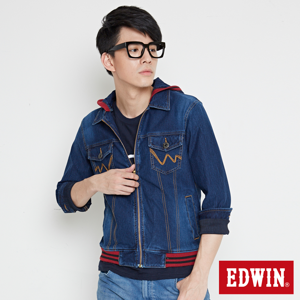 EDWIN 外套 迦績JERSEYS合身牛仔外套-男-酵洗藍