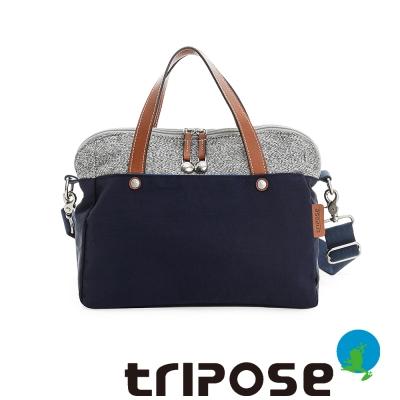 tripose 漫遊系列岩紋玩色兩用手提背包 海軍藍