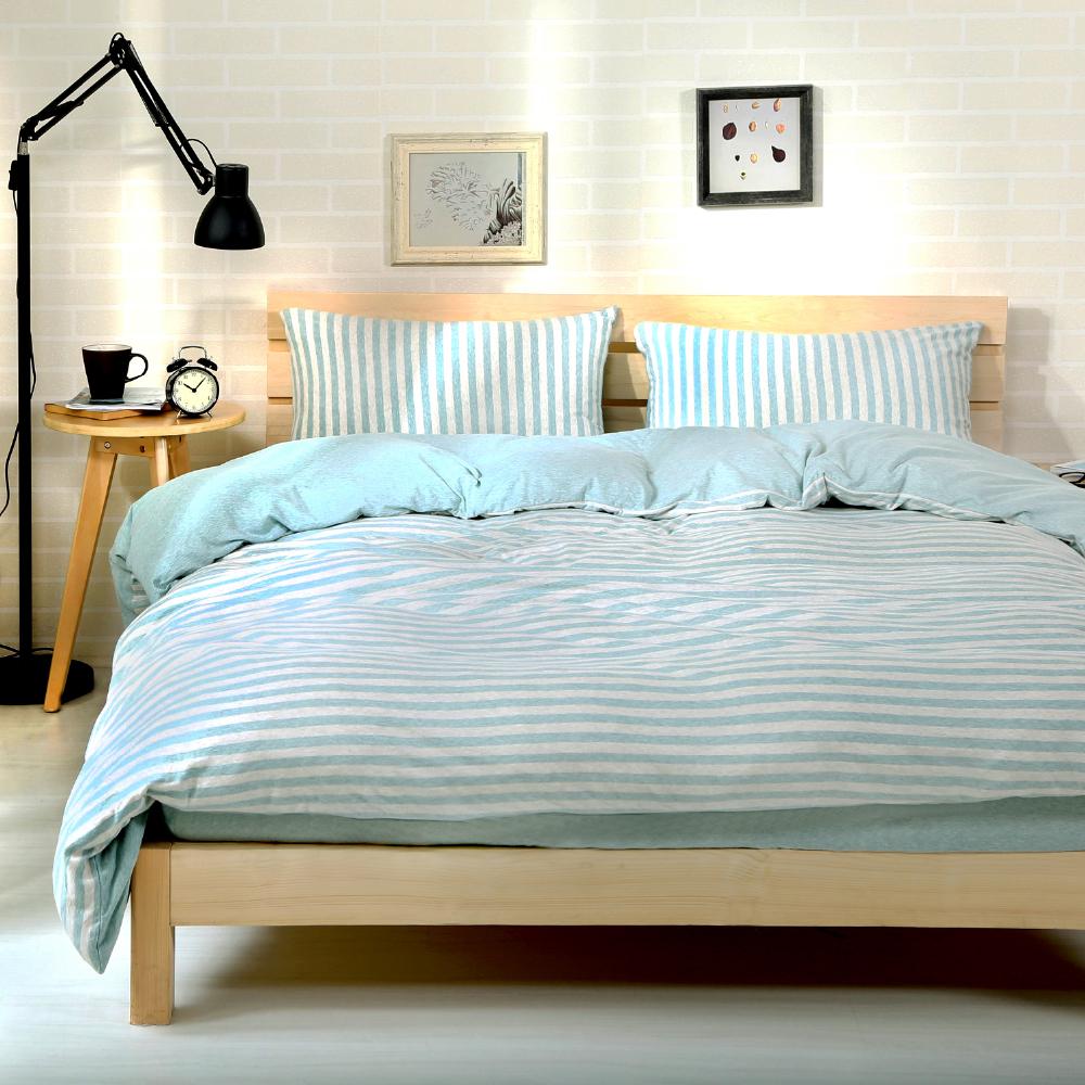 Saint Rose 簡約美學-水藍 純棉針織 雙人床包被套四件組