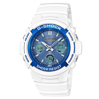 G-SHOCK浩瀚海洋休閒時尚太陽能電波錶(AWG-M100SWB-7藍x白/46.4mm