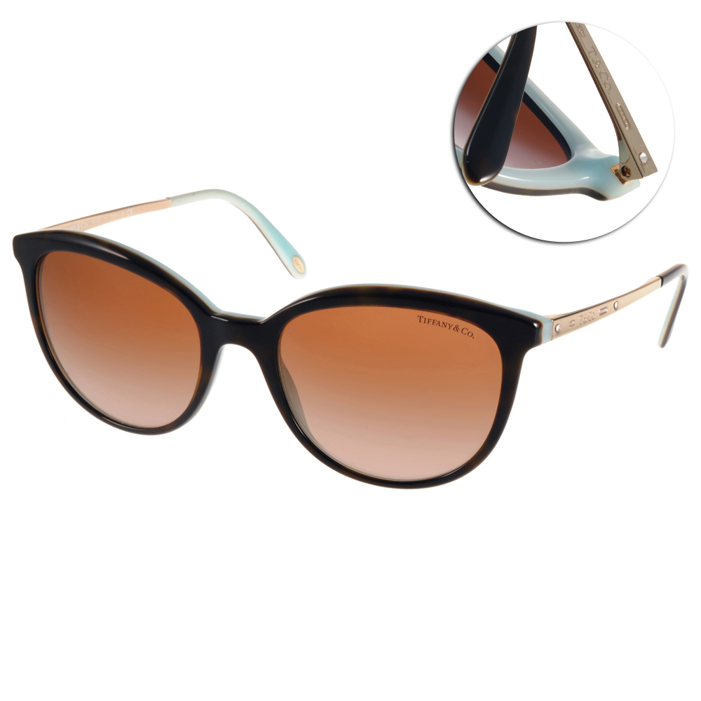 Tiffany&CO.太陽眼鏡 晶鑽點綴貓眼/深邃琥珀-金#TF4117B 81343B
