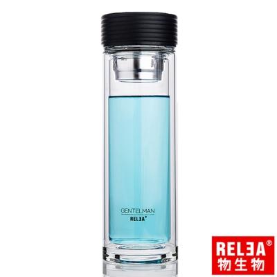 香港RELEA物生物 慕尚雙層玻璃杯280ml (經典黑)