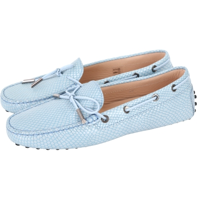 TOD'S Gommino Driving 紋理印花綁帶豆豆休閒鞋(天空藍)