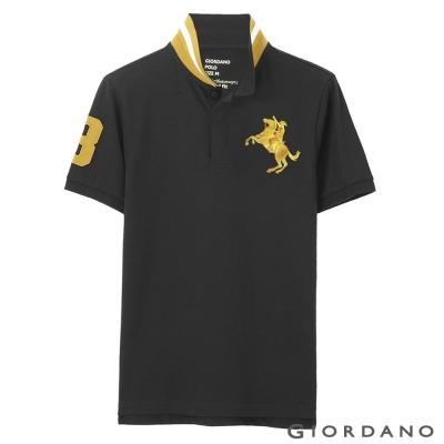 GIORDANO-男裝拿破崙刺繡彈性POLO衫-43-標誌黑