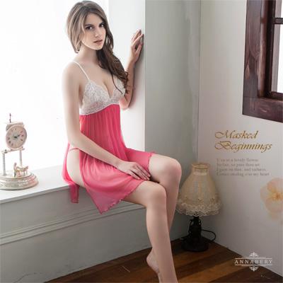 大尺碼 側開襟二件式柔紗睡衣 Annabery