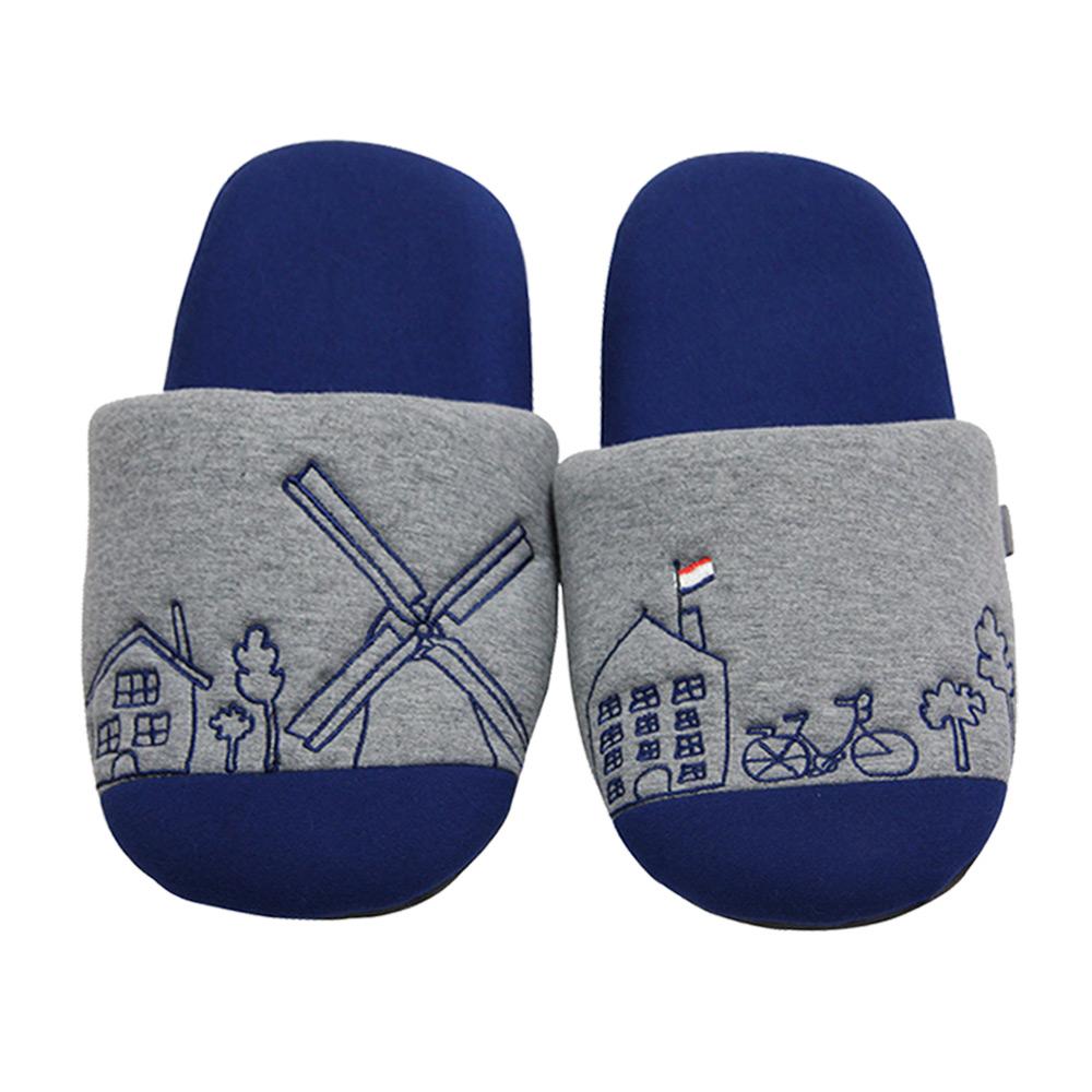 Yvonne Collection荷蘭街景拖鞋-寶藍M