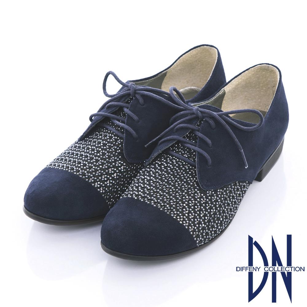 DN 摩登時尚 羊皮雷射沖孔貼鑽綁帶牛津鞋-藍