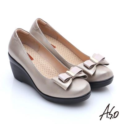 A.S.O 美型氣墊 真皮奈米雙蝴蝶結飾氣墊楔型鞋 卡其