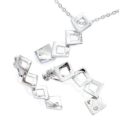 iSFairytale伊飾童話 完美佳人 菱形項鍊夾式耳環組