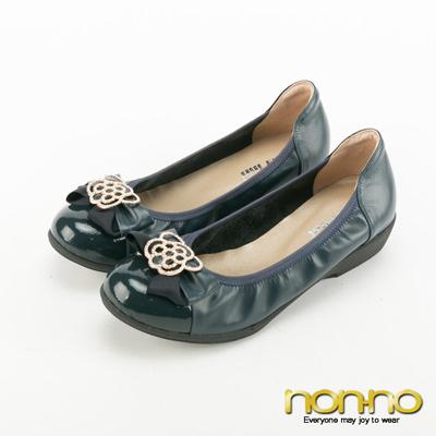 nonno-復古碎花蝴蝶結楔型跟鞋-深藍