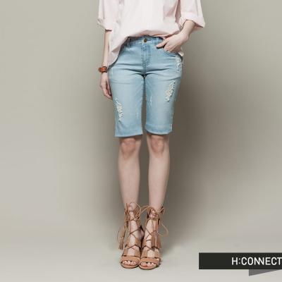 H:CONNECT 韓國品牌 女裝 - 修身刷破牛仔短褲 - 淺藍(快)