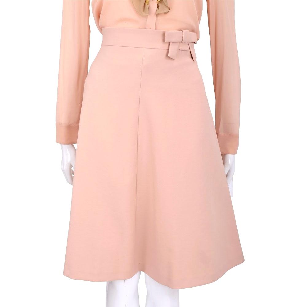 RED VALENTINO 粉橘色蝴蝶結飾及膝裙