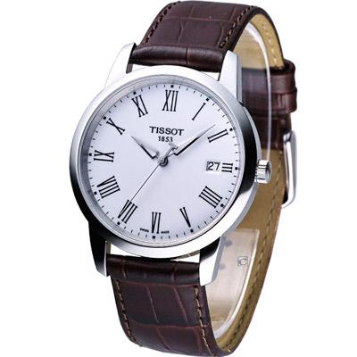 TISSOT Classic Dream 系列都會紳士腕錶-白/38mm