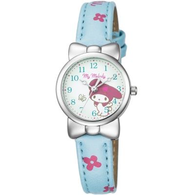HELLO KITTY 美樂蒂可愛蝴蝶結俏皮手錶-藍綠/27mm