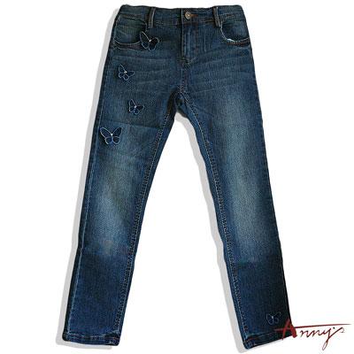 休閒蝴蝶水鑽造型牛仔長褲*4340藍
