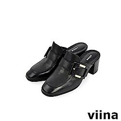viina -都會系列-牛皮方頭側扣高跟穆勒鞋-黑