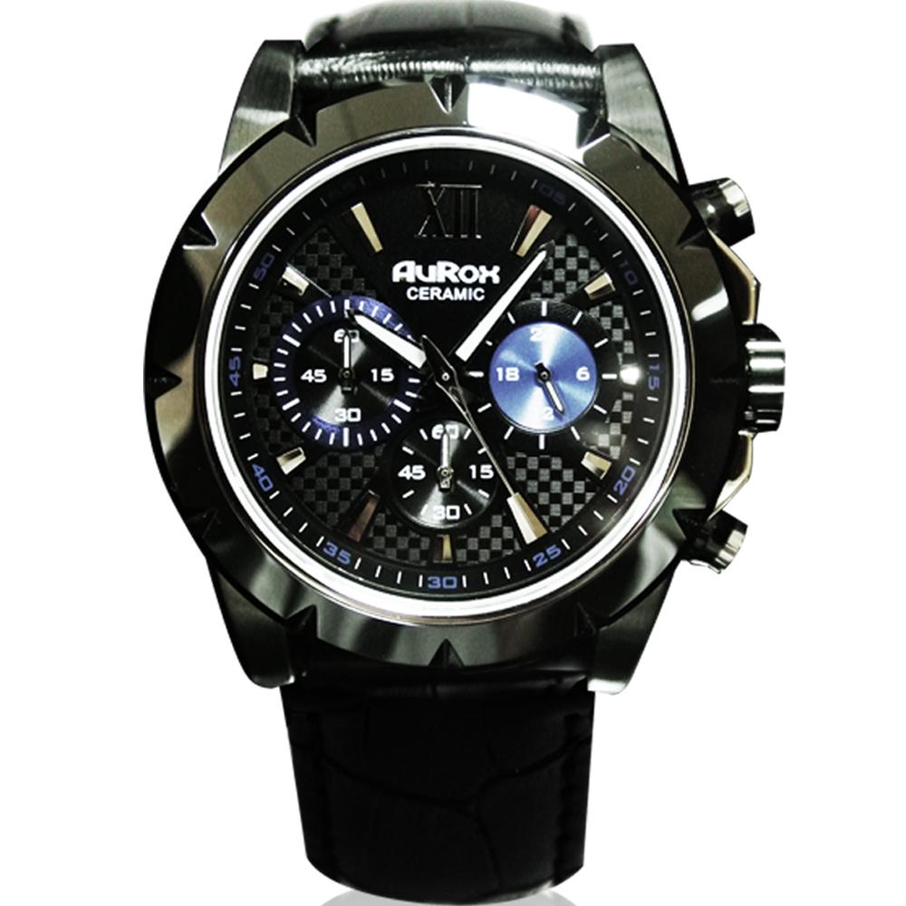 AuRox歐銳時 英倫紳士三眼計時陶瓷不鏽鋼石英計時腕錶(AR1102-黑陶)-45mm